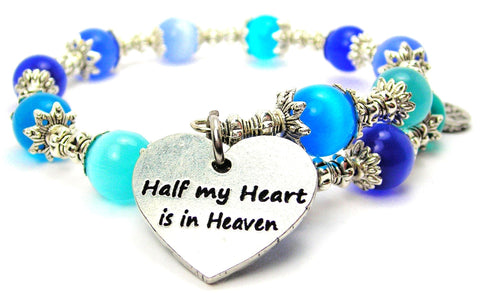 Half My Heart Is In Heaven Cats Eyes Glass Beaded Wrap Bracelet