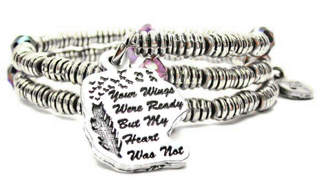 Your Wings Were Ready But My Heart Was Not Spiral Bead Memory Wire Wrap Bangle Bracelet
