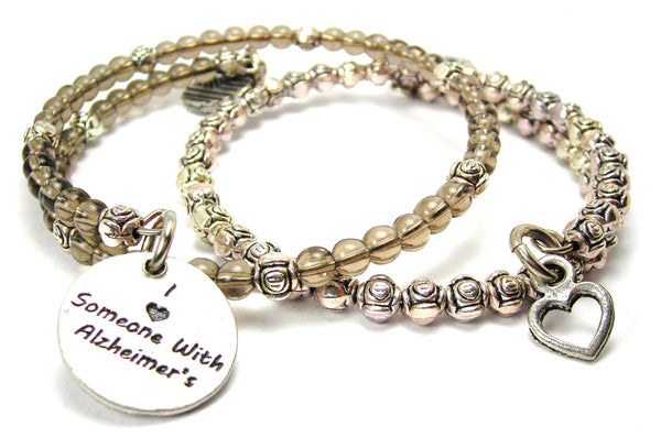I Love Someone With Alzheimer'S Delicate Glass And Roses Wrap Bracelet Set