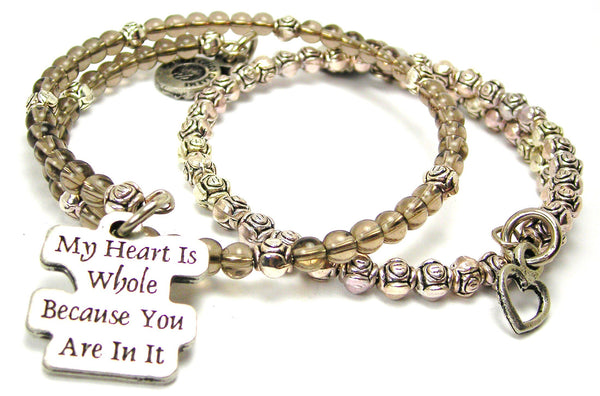 My Heart Is Whole Because You Are In It Delicate Glass And Roses Wrap Bracelet Set