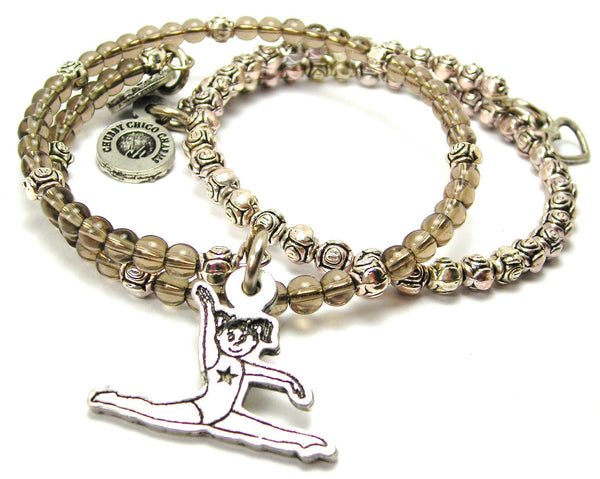 Little Gymnastics Girl Delicate Glass And Roses Wrap Bracelet Set
