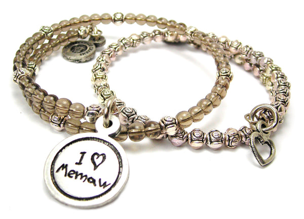 I Love Memaw Child Handwriting Delicate Glass And Roses Wrap Bracelet Set
