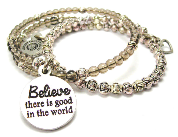 Believe There Is Good In The World Delicate Glass And Roses Wrap Bracelet Set