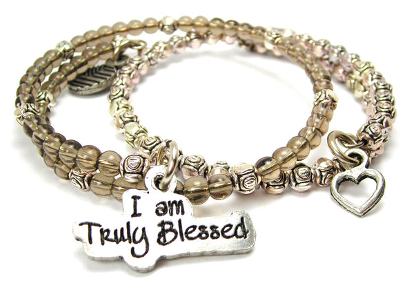 I Am Truly Blessed Delicate Glass And Roses Wrap Bracelet Set