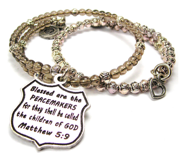 Blessed Are The Peacemakers For They Shall Be Called The Children Of God Matthew 5:9 Delicate Glass And Roses Wrap Bracelet Set