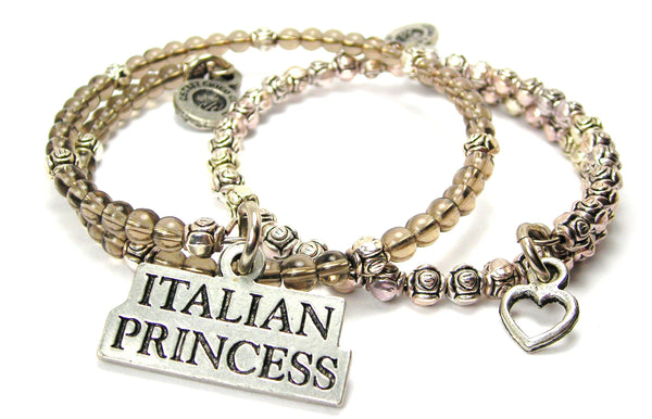 Italian Princess Delicate Glass And Roses Wrap Bracelet Set