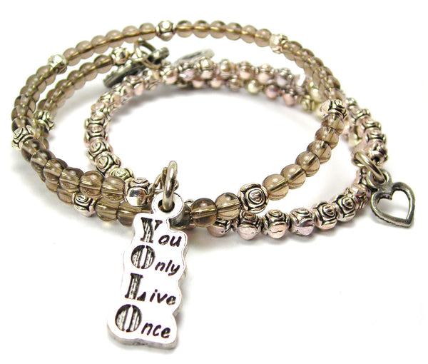 Yolo You Only Live Once Delicate Glass And Roses Wrap Bracelet Set