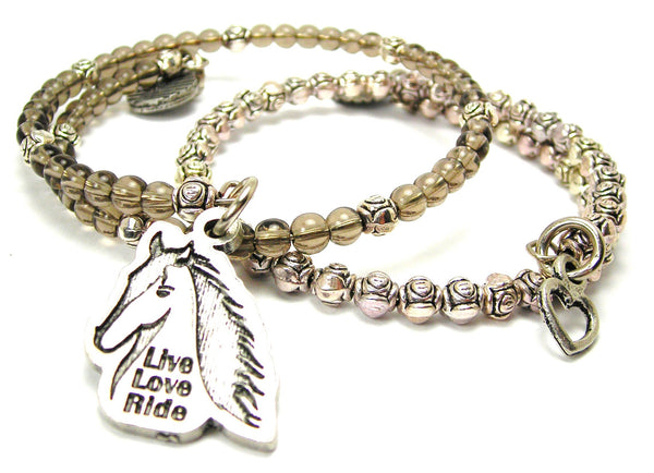 Live Love Ride Horse Delicate Glass And Roses Wrap Bracelet Set