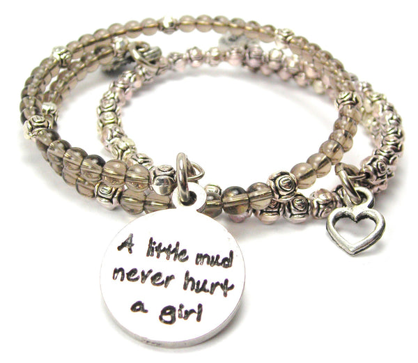 A Little Mud Never Hurt A Girl Delicate Glass And Roses Wrap Bracelet Set