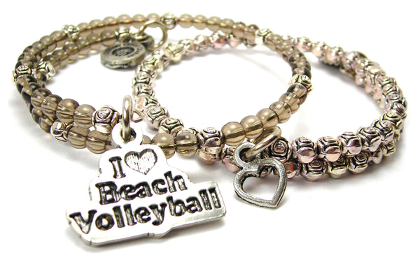 I Love Beach Volleyball Delicate Glass And Roses Wrap Bracelet Set