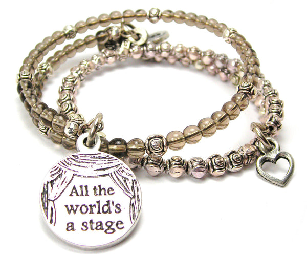 All The World'S A Stage Delicate Glass And Roses Wrap Bracelet Set