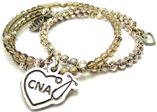 Cna Stethoscope Heart Delicate Glass And Roses Wrap Bracelet Set