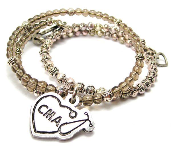 Cma Stethoscope Heart Delicate Glass And Roses Wrap Bracelet Set