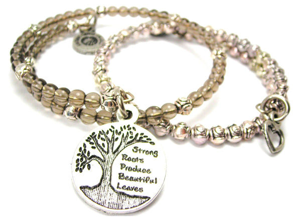 Strong Roots Produce Beautiful Leaves Delicate Glass And Roses Wrap Bracelet Set