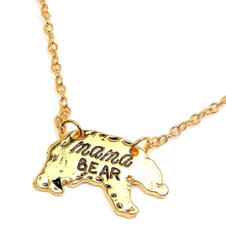 Gold Tone Mama Bear Charm Necklace