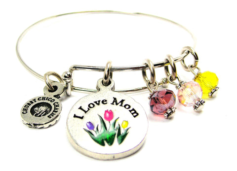 Mothers Day Tulips I Love Mom With Lavender Pastel Pink Sunshine Yellow Tulips Expandable Bangle Bracelet