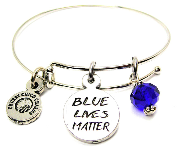 Blue Lives Matter Bangle Bracelet