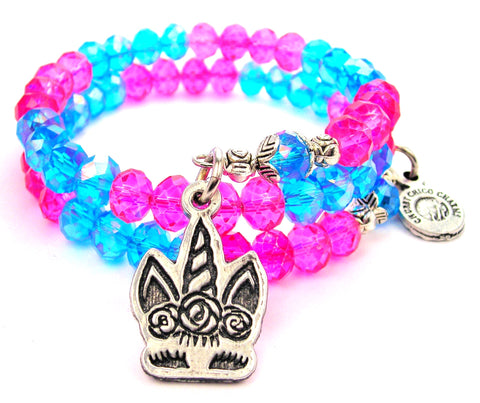 Shy Unicorn With Flowered Hair Crystal Wrap Bracelet