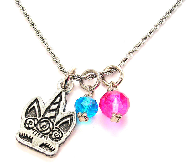 Shy Unicorn With Flowered Hair Charm Necklace