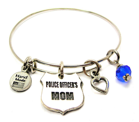 Police Officer's Mom Expandable Bangle Bracelet