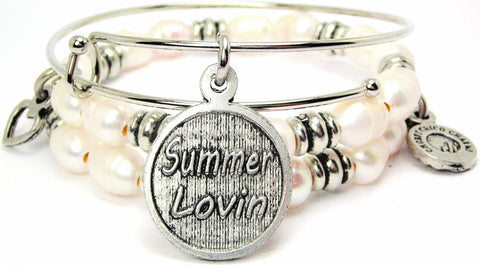 Summer Lovin Natural Fresh Water Pearls Expandable Bangle Bracelet Set