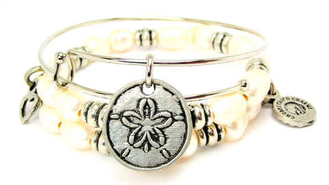 Sand Dollar Natural Fresh Water Pearls Expandable Bangle Bracelet Set