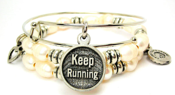 Keep Running Natural Fresh Water Pearls Expandable Bangle Bracelet Set