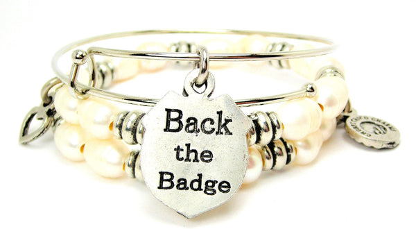 Back The Badge Natural Fresh Water Pearls Expandable Bangle Bracelet Set