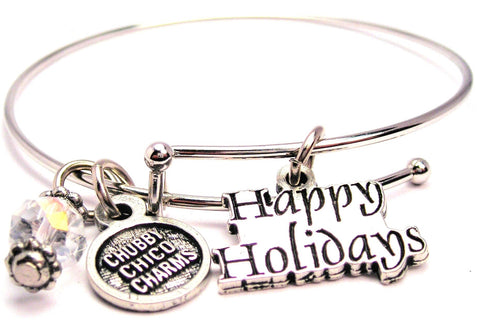 Happy Holidays Stylized Bangle Bracelet