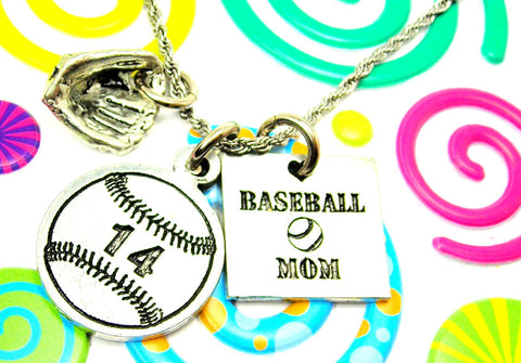Baseball Mom Necklace With Custom Jersey Number