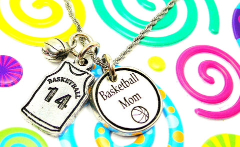 Basketball Mom Necklace With Custom Jersey Number