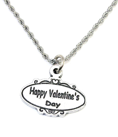 Happy Valentine's day oval  Single Charm Necklace