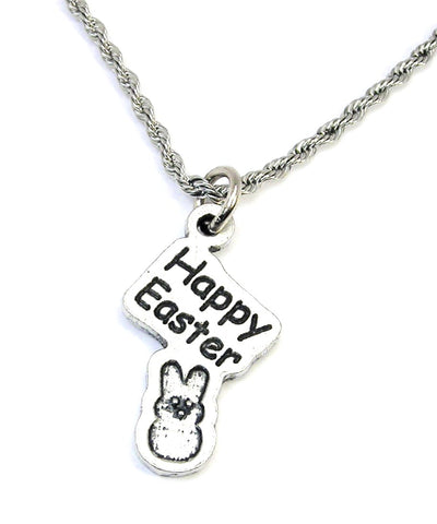 Happy Easter peep  Single Charm Necklace