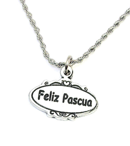 Feliz Pascua oval Happy Easter  Single Charm Necklace