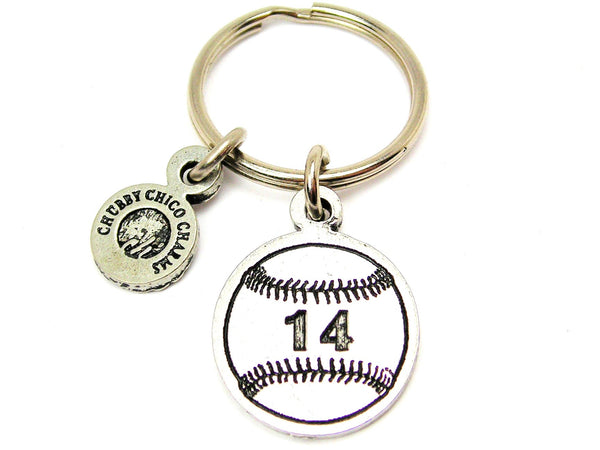 "Baseball Softball Choose Your Number - 1"" Key Chain"