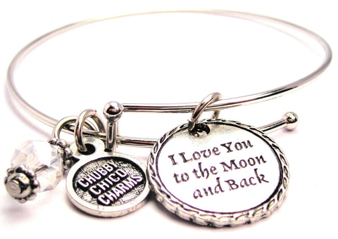 I Love You To The Moon And Back Detailed Trim Expandable Bangle Bracelet