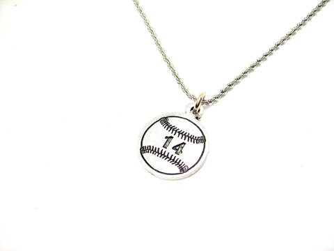 "Baseball Softball Choose Your Number - 20"" Stainless Steel Rope Necklace"