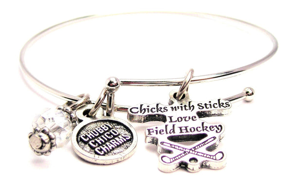 Chicks With Sticks Love Field Hockey Bangle Bracelet
