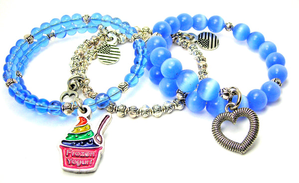 Rainbow Colored Frozen Yogurt 3 Piece Wrap Bracelet Set Cats Eye Glass And Pewter