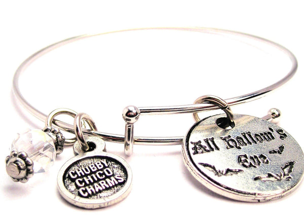 All Hallows Eve Circle With Bats Bangle Bracelet