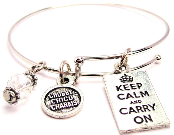 Keep Calm And Carry On Square Bangle Bracelet