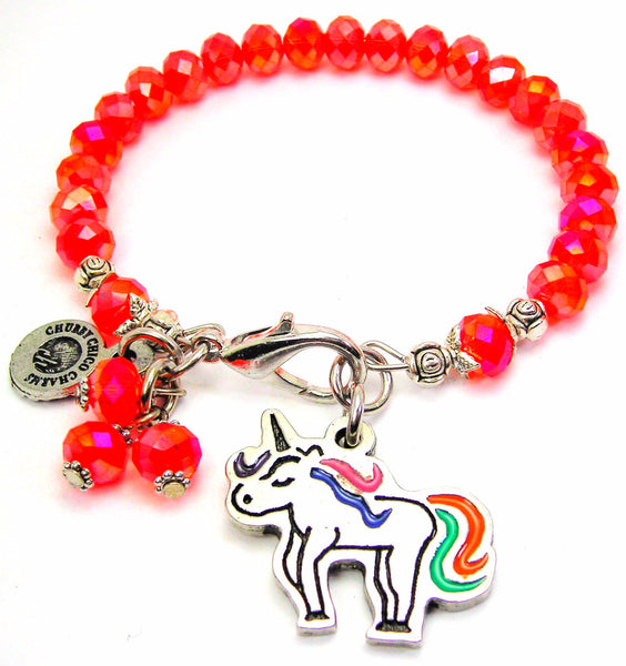 Unicorn With Rainbow Tail Splash Of Color Crystal Bracelet