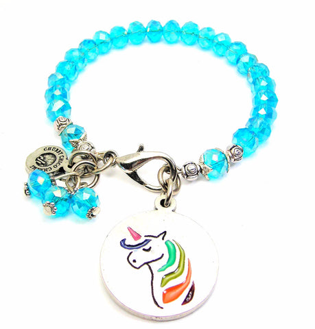 Unicorn With Rainbow Hair Splash Of Color Crystal Bracelet