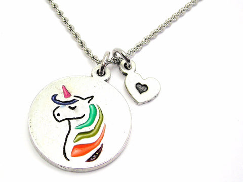 Unicorn With Rainbow Hair Charm Necklace