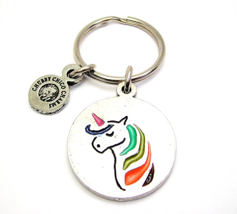 Unicorn With Rainbow Hair Key Chain