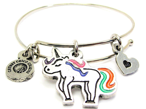 Unicorn With Rainbow Tail Bangle Bracelet