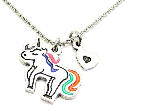 Unicorn With Rainbow Tail Charm Necklace