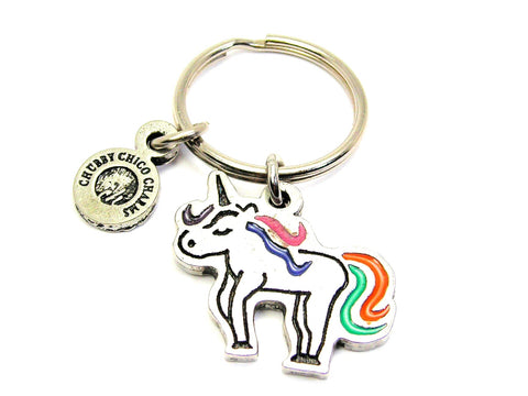 Unicorn With Rainbow Tail Key Chain