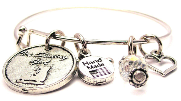 Ice Skating Girl Expandable Bangle Bracelet