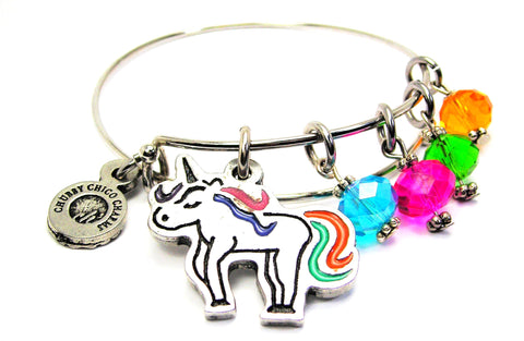 Unicorn With Rainbow Tail And Crystals Expandable Bangle Bracelet